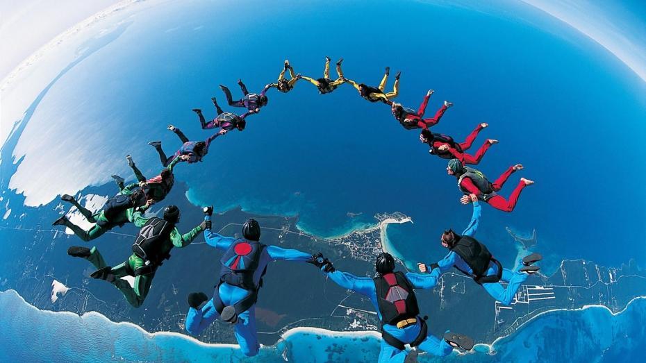 Saut en parachute en équipes