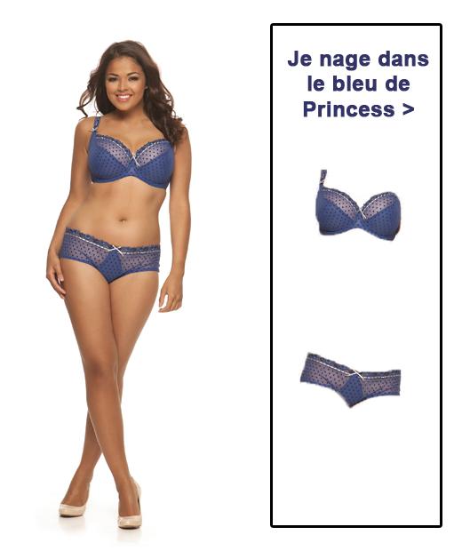 Ligne Princess en bleu nuit et gris argent de Curvy Kate