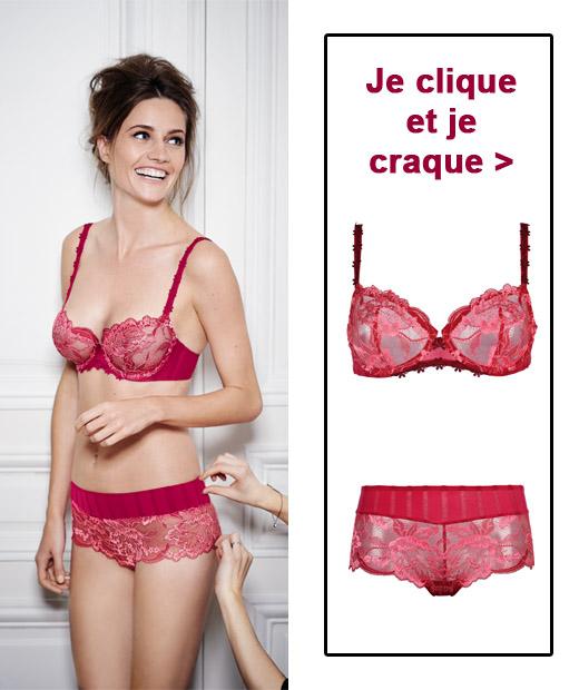 Soutien-gorge et shorty rouge framboise de la ligne Amour de Simone Pérèle