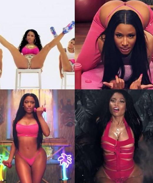 Nicki Minaj en lingerie rose pour le clip Anaconda