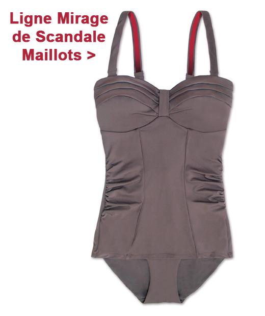 Maillot de bain une pièce en coloris gris de la marque Scandale Maillots