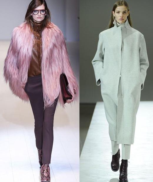 Le manteau en fourrure à poils longs colorés et oversiez en laine sont la tendance de l'hiver 2014