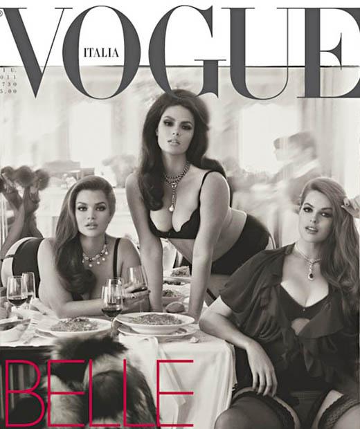 Vogue Italie avec en couverture les mannequins grande taille Tara Lynn et Candice Huffine