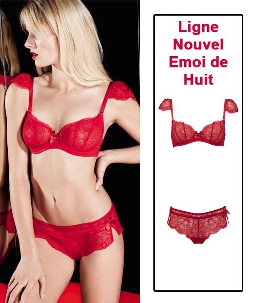 Ensemble soutien-gorge rouge et shorty Nouvel Emoi de Huit