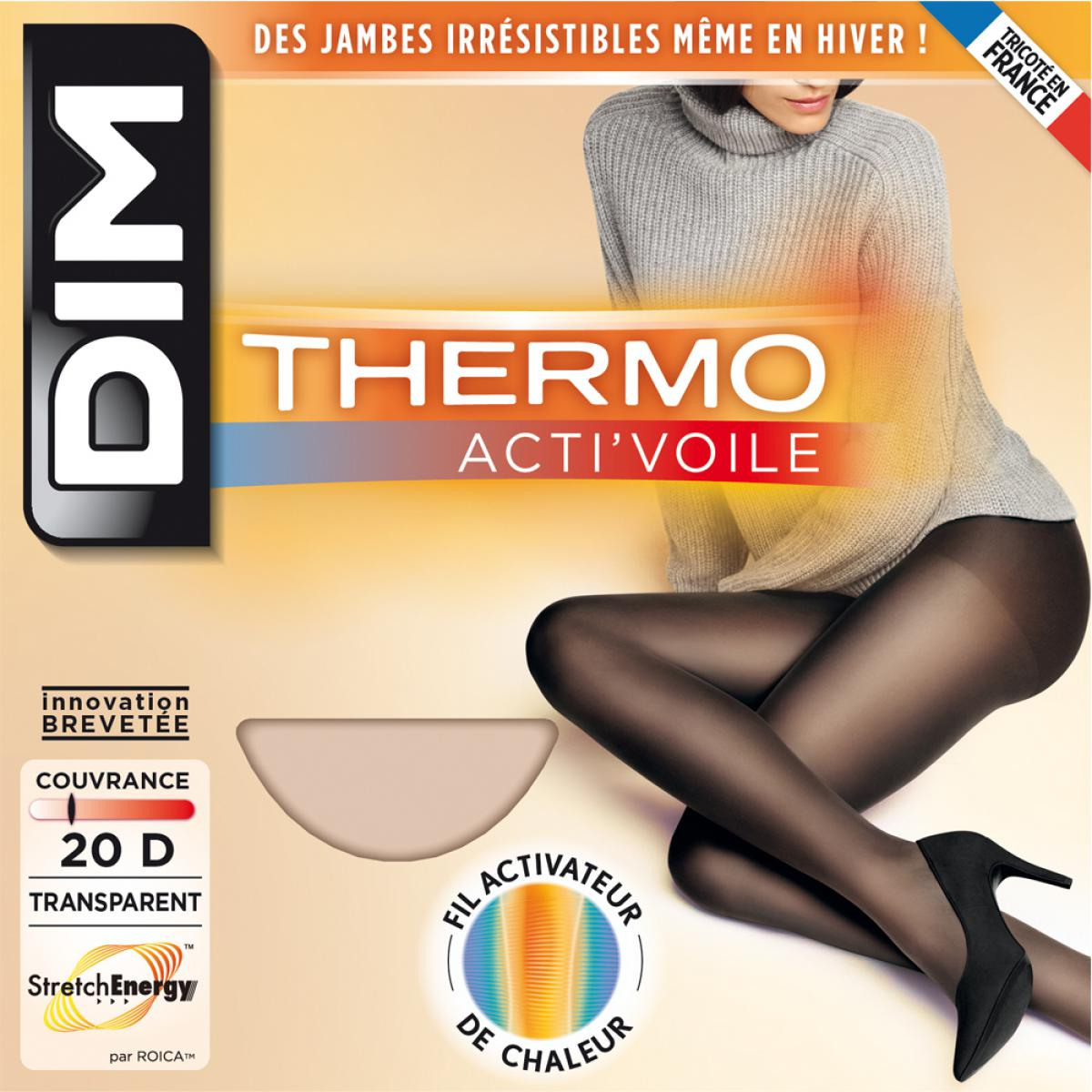 Collant thermo acti'voile Dim Chaussant Collant thermo acti'voile noir