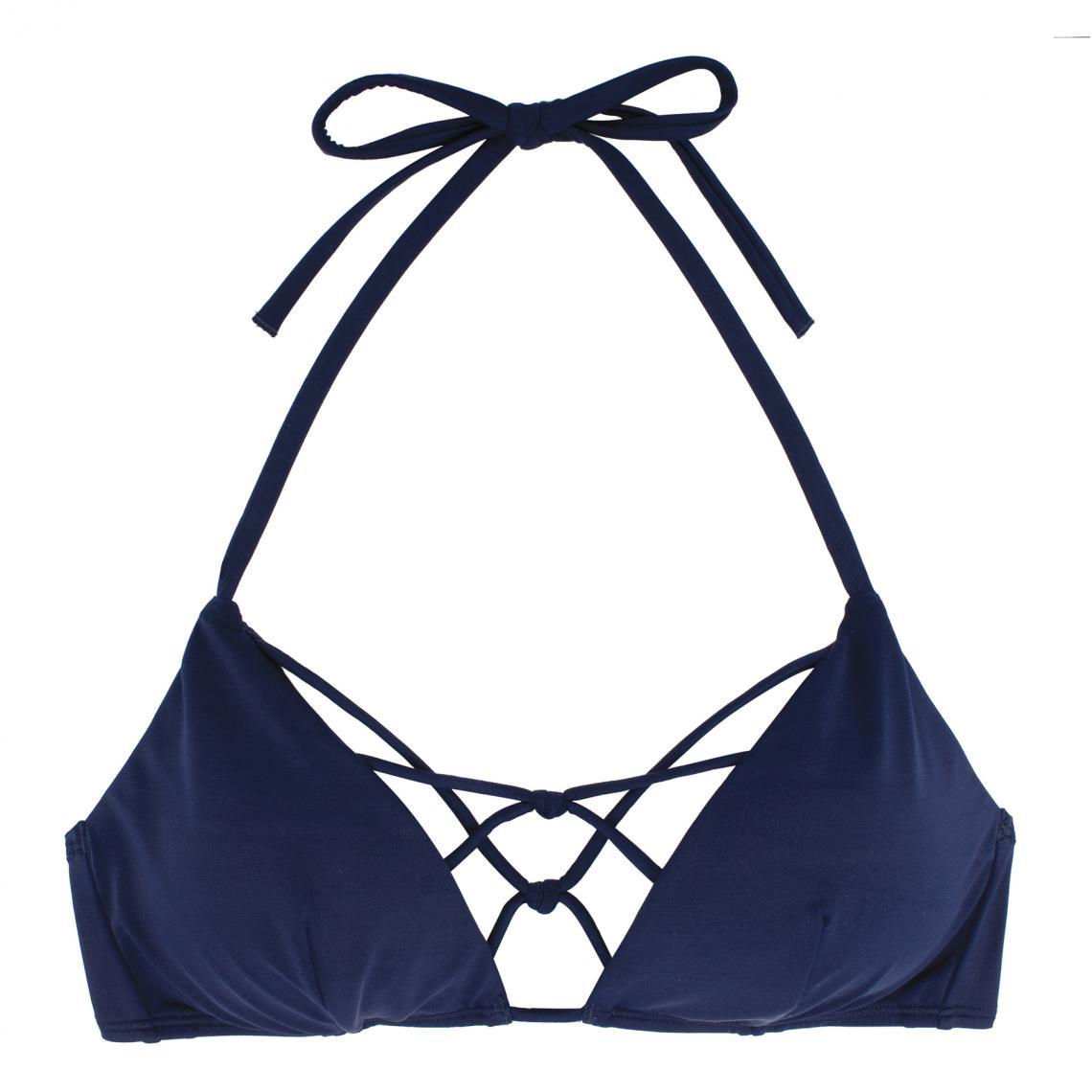 Haut de maillot de bain triangle sans armatures bleu