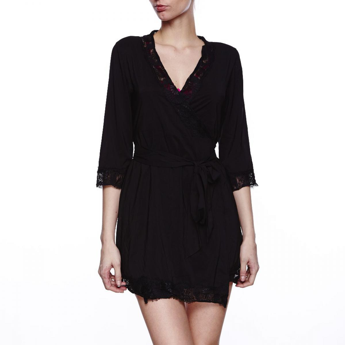 robe de chambre jada black par l 39 agent by agent provocateur. Black Bedroom Furniture Sets. Home Design Ideas