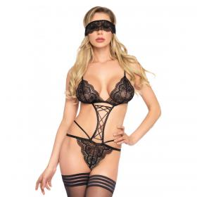 Ensemble sexy body et loup noir Leg Avenue - Body - Ensembles de lingerie