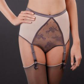 Culotte Haute Porte-Jarretelles Gris-Rose Maison Close - Porte-jarretelles - Lingerie Maison Close
