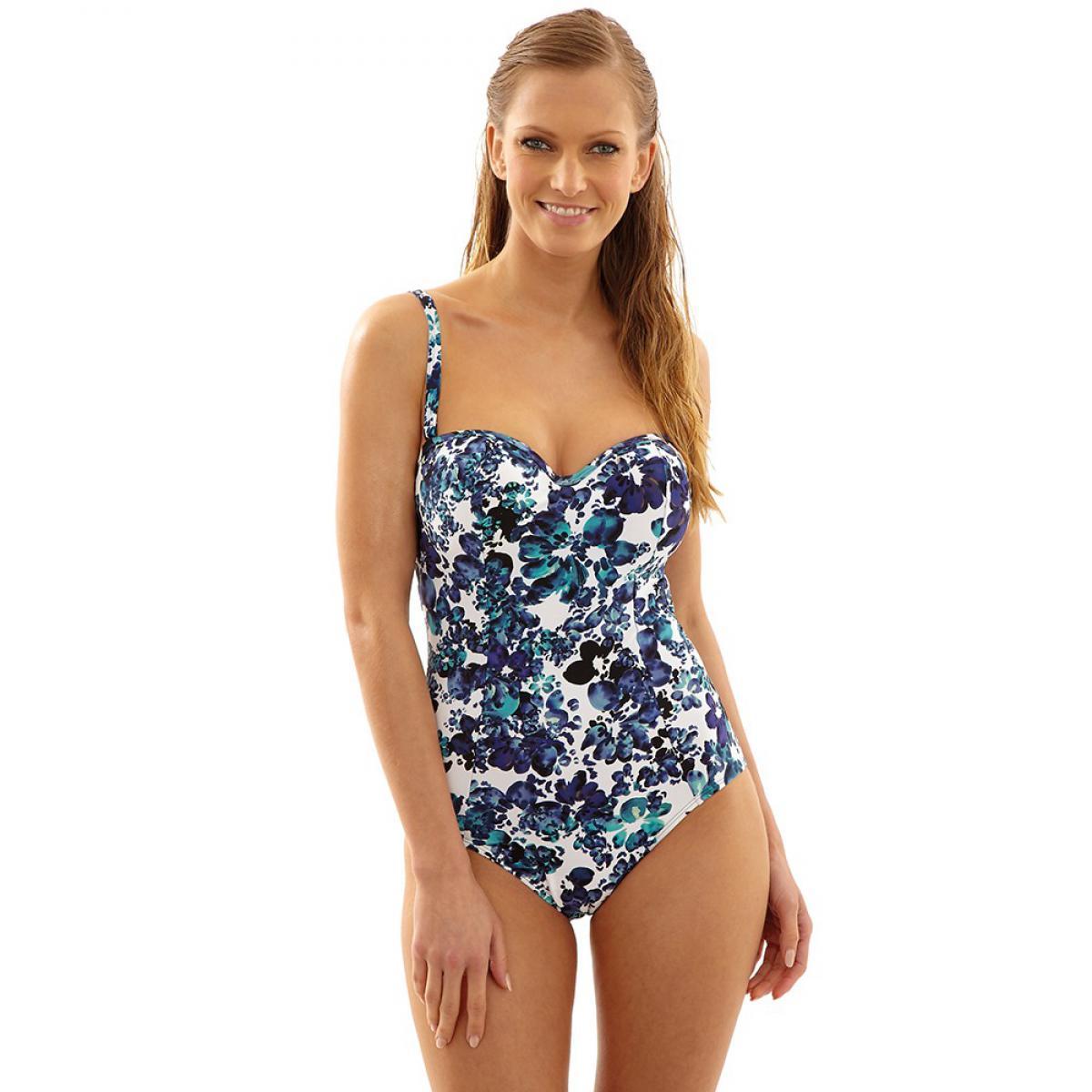 maillot de bain 1 piece bandeau moule florentine floral blue panache bain. Black Bedroom Furniture Sets. Home Design Ideas