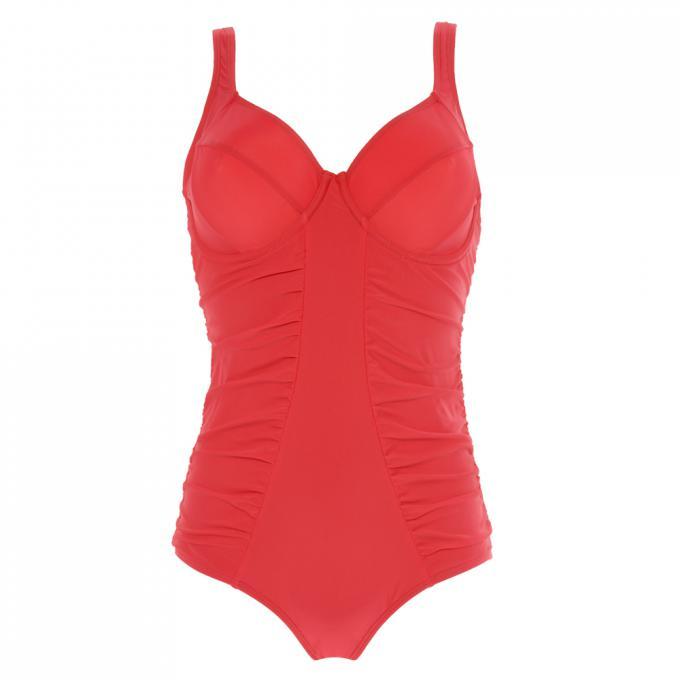 8006a764482d0 Maillot de bain une pièce à armatures rouge Sans Complexe Bain ...